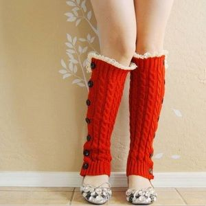Accessories - NWOT Red Leg Warmers with Cotton Lace & Buttons ♥️